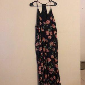 Floral black maxi dress size xl